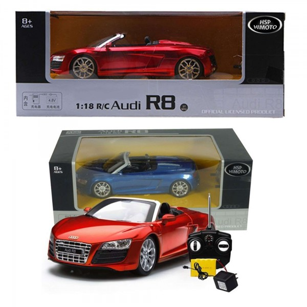 original audi r8 spyder rc ferngesteuertes auto modell fahrzeug neu 1 18 rc lizenzautos. Black Bedroom Furniture Sets. Home Design Ideas