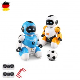 2 x RC ferngesteuerte smarte Fussball-Roboter mit Toren und Bällen im Set, Soccer-Droiden mit Akku