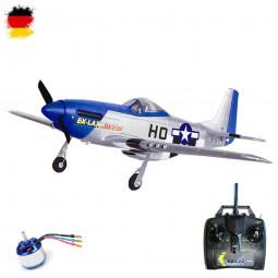 Mustang P-51D mit Brushless-Motor, RC ferngesteuertes 4 Kanal Flugzeug-Modell, ARF mit Akku