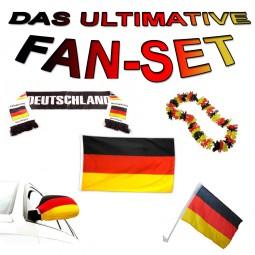 MEGA Deutschland Fan-Set EURO CUP EM 2016! Fahne,Hawai-Kette,Schal,Socke