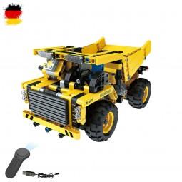 RC ferngesteuerter Kipper, Truck, LKW aus Bausteinen mit Fernbedienung mit Akku und USB-Ladekabel