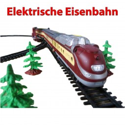 Elektrische Eisenbahn mit Licht und Sound, Lokomotive mit Wagons und 10 Meter Gleise, Schienen, Zug