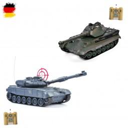 Battle-Set mit 2 x RC ferngesteuerten Panzer Russischer T90 vs. German Königs Tiger, Modelle m. Akku