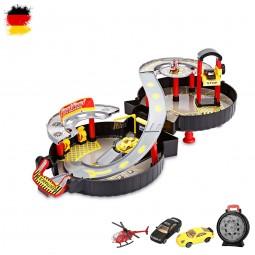 Spielzeug-Set mit Autos und Hubschrauber im Koffer, Fahrzeuge und Strecke, Modell als Komplett-Set