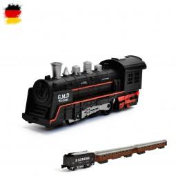 Elektrische Eisenbahn mit Licht und Sound, Lokomotive mit Wagons und Gleise, Schienen, Zug Modellbau