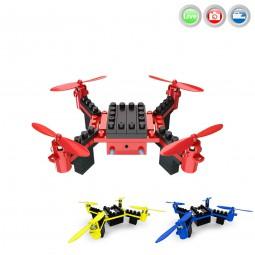 RC ferngesteuerter Mini Quadcopter aus Bausteinen mit Wifi-FPV Live-Kamera auf Handy, Drohne mit Akk