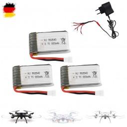 3 x Akku mit 5in1 Ladegerät für Syma X5C, X5SC, X5SW, 3.7V 800mAh, Quadcopter, Drohne, Ersatzteil