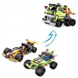 Truck aus Bausteinen mit Rückziehfunktion, Formel 1, Buggy, Fahrzeug, Modellbau