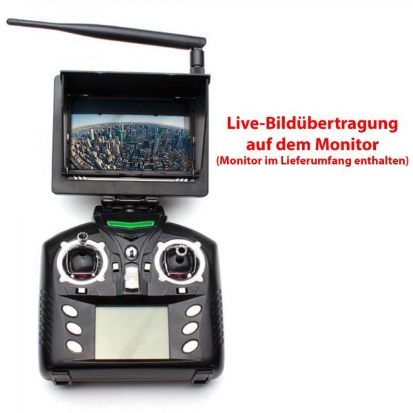 4 5kanal rc ferngesteuerter quadcopter mit live kamera monitor drohne quadrocopter rc. Black Bedroom Furniture Sets. Home Design Ideas