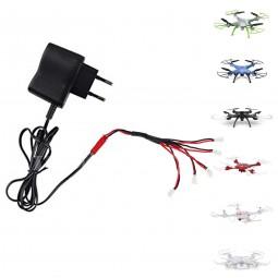 Ladegerät mit Mehrfach-Ladekabel für RC Quadcopter X5C, X5SC, X5SW, X5UC, Hubschrauber, Ersatzteil