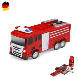 2in1 Feuerwehrwagen mit Parkhaus, Spielzeug-Set mit Autos, Sound und Licht, wunderschönes Design