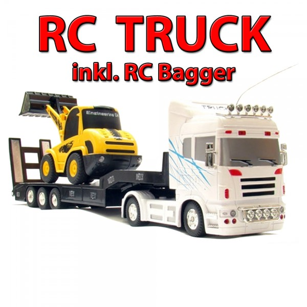 riesiger xxl truck rc ferngesteuerter lkw mit bagger auto. Black Bedroom Furniture Sets. Home Design Ideas