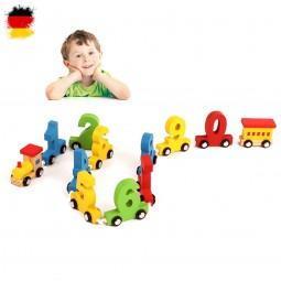 Eisenbahn aus Holz, Lokomotive, Zug, Lok mit Wagon und Zahlen, Modellbau, Neu