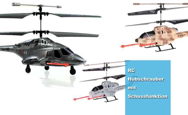 Kampfhubschrauber mit Schussfunktion